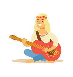 Guy hippie dressed in classic woodstock sixties vector