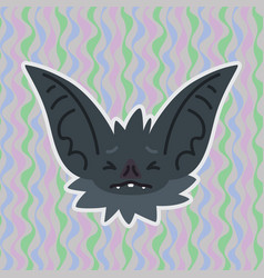 halloween bat smiley head got scared with closed vector image
