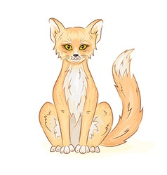 Hand drawn printable of colorful cute sitting fox vector