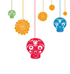 Hanging halloween decorations with copy space vector