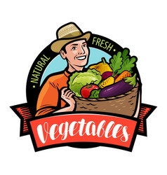 Happy farmer holding wicker basket with vegetables vector