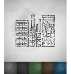 High-rises icon Hand drawn vector