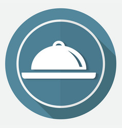 icon chef on white circle with a long shadow vector image