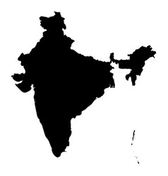 india - solid black silhouette map of country area vector image