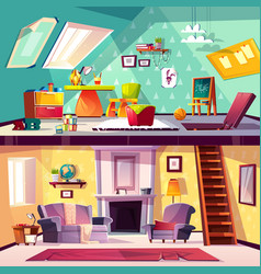 Interior of playroom and living room vector