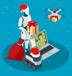 Isometric christmas robot santa drone fast vector