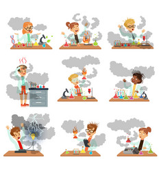 Kid chemists characters posing in different vector