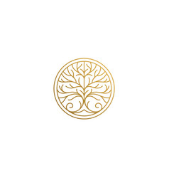 linear tree icon in circle hand drawn with thin vector image