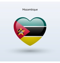 Love Mozambique symbol Heart flag icon vector