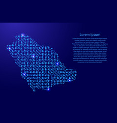 Map saudi arabia from printed board chip and vector