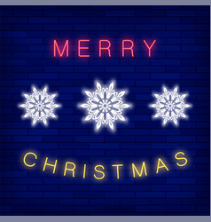 merry christmas colorful neon sign vector image