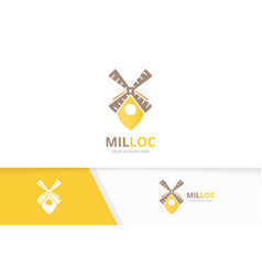 mill and map pointer logo combination farm vector image