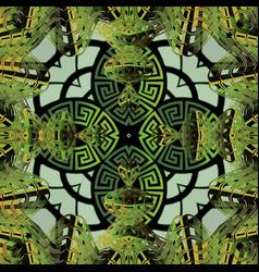 Modern 3d greek seamless pattern floral vector