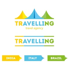 modern bright flat travel company tent logo with vector image