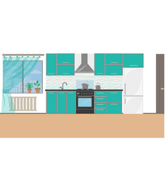 modern kitchen interior with furniture and cooking vector image