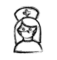 monochrome hand drawn sketch of female nurse half vector image