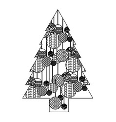 monochrome silhouette of christmas tree with vector image