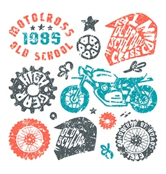 Motorcycling elements in hand drawn style vector