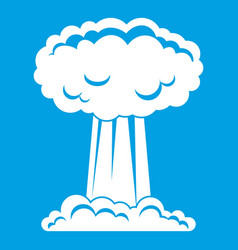 Mushroom cloud icon white vector