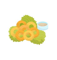 Onion rings lettuce and sauce fast food dish vector