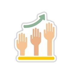 Paper sticker on white background hand graph vector