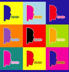 people speaking or singing sign pop-art vector image