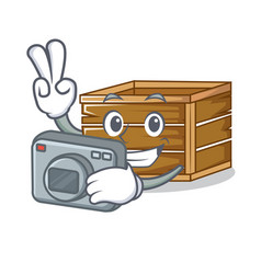 photographer crate mascot cartoon style vector image