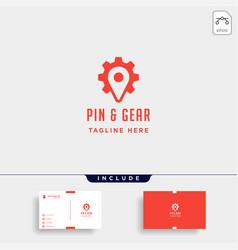 pin gear logo navigator simple icon symbol sign vector image