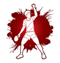 Ping pong player table tennis action cartoon vector