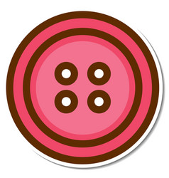 pink cloth button sticker on white background vector image