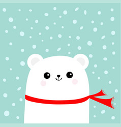 polar white little small bear cub wearing red vector image