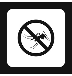 Prohibition sign mosquitoes icon simple style vector