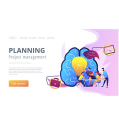 Project management concept landing page vector