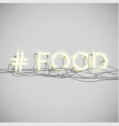 realistic neon hashtag word vector image