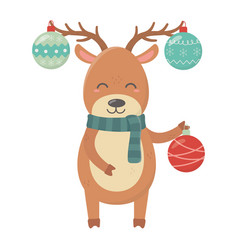Reindeer with hanging balls horns celebration vector