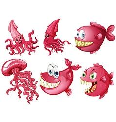 Sea animals in pink color vector