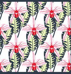 seamless pattern with orchids 1 vector image