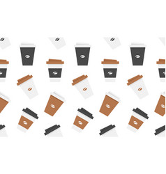 seamless pattern with plastic coffee cup vector image