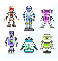 set cartoon friendly robots vector image
