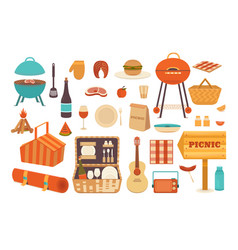 set elements for picnic set elements for vector image