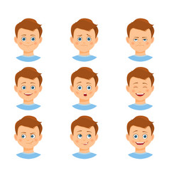 Set of boy emotions vector