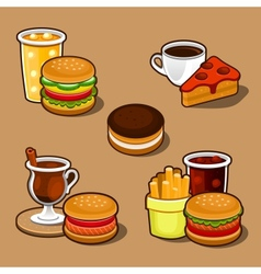 Set of colorful cartoon fast food and cake vector image