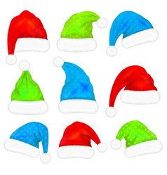 set santa claus hats with fur isolated on white vector image