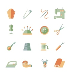 sewing equipment icons set vector image