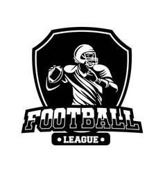 shield badge american football league black vector image