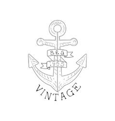 Ship Anchor Vintage Sea And Nautical Symbol Hand vector image