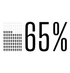 Sixty five percent people chart graphic 65 vector