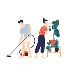 Smiling young man and woman cleaning house vector