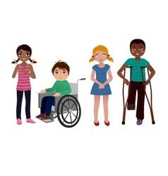 Special needs children sad set vector