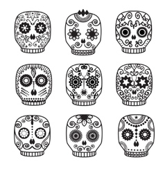 Sugar skull set Day of the dead design vector image